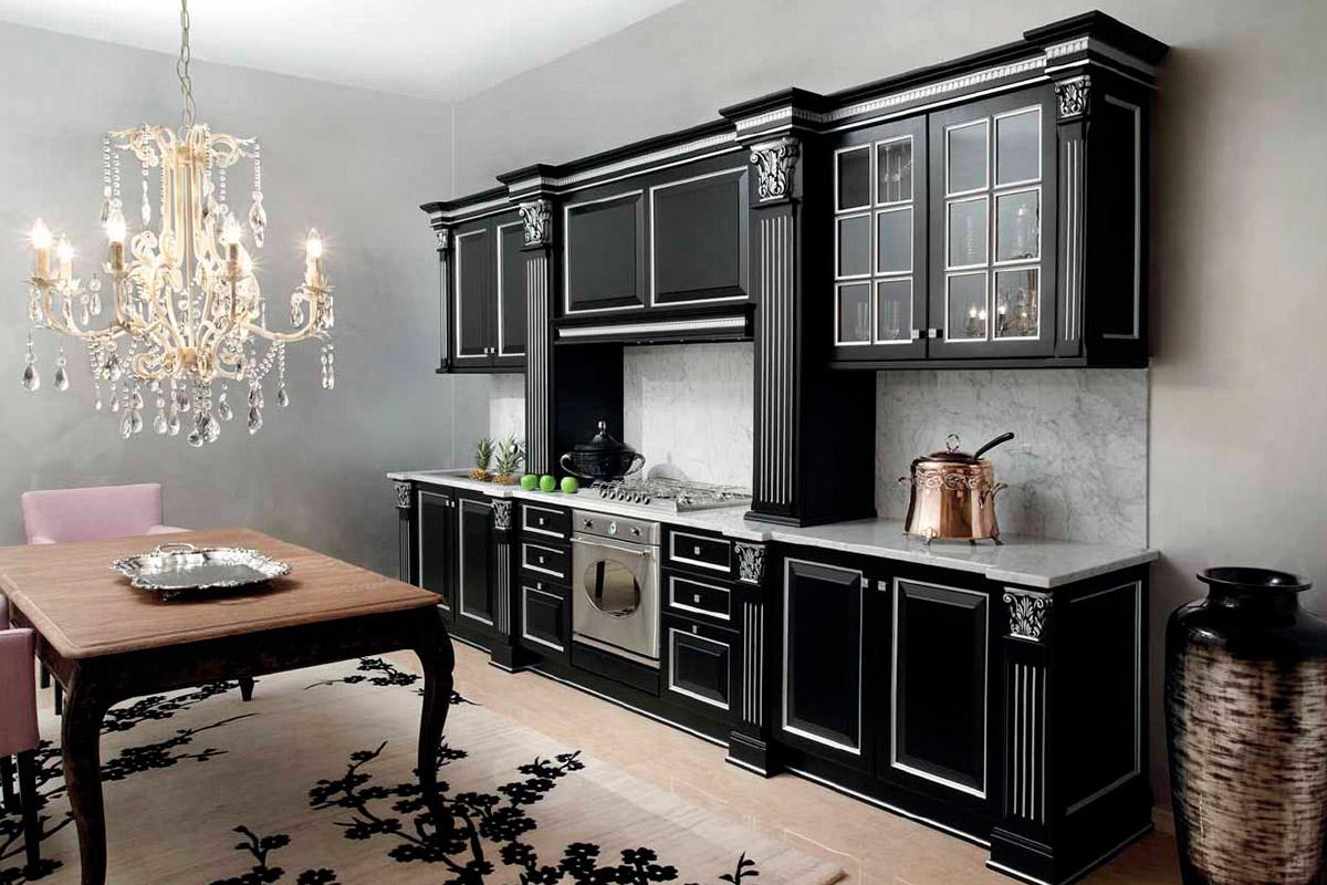 Кухня черная из массива дуба
