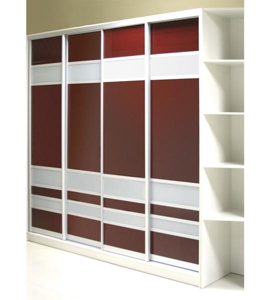 Шкаф-купе 4-х створчатый белый с коричневыми дверьми