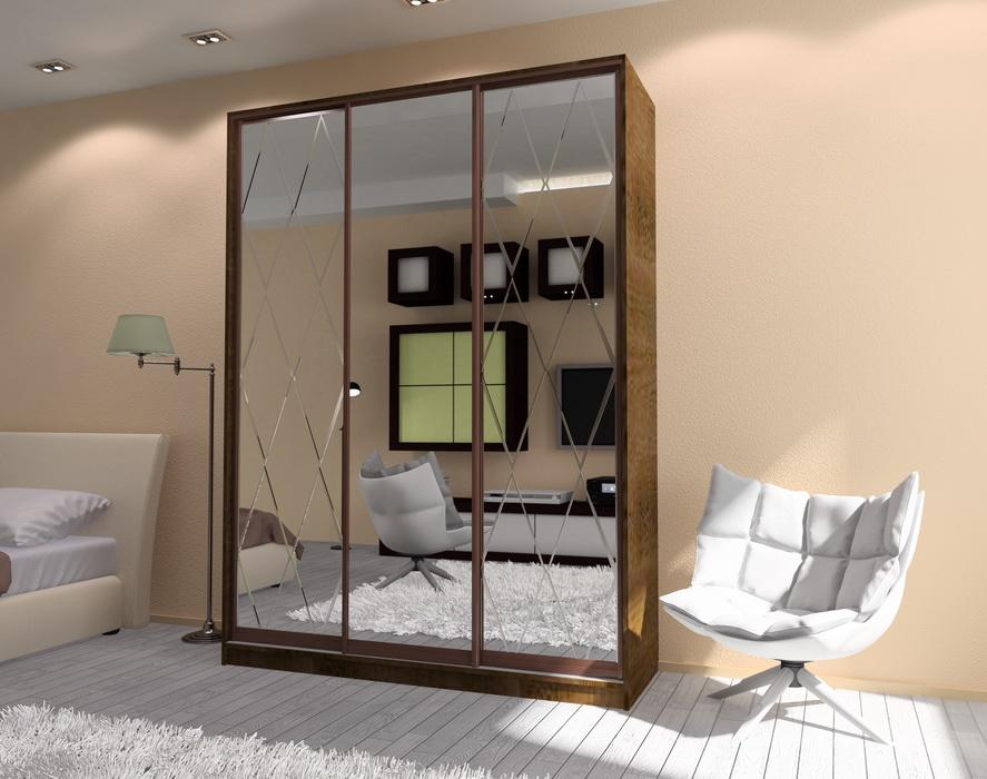 Шкаф-купе корпусной 3-х створчатый S коричневый с зеркалами