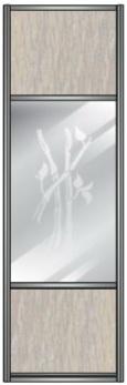 Модель 13 ЛДСП-Зеркало сер. с песк. рисунком-ЛДСП 600 мм