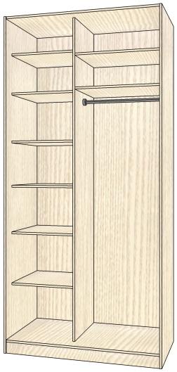 Шкаф-купе корпусной 2-х створчатый 2652х1608х605 мм