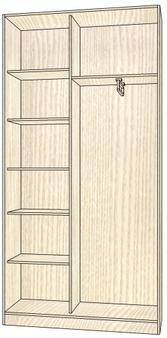 Шкаф-купе корпусной 2-х створчатый 2252х1368х405 мм