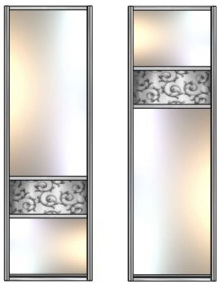 Модель 14-15 Зеркало сер.-зеркало с песк. рис.-Зеркало сер. 645 мм
