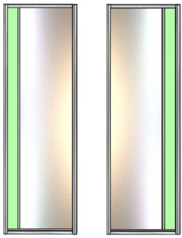 Модель 21-22 полотно Зеркало сер. — вставка 100 мм Стекло с плёнкой 730 мм
