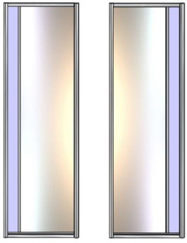 Модель 21-22 полотно Зеркало сер. — вставка 100 мм Стекло с плёнкой 600 мм