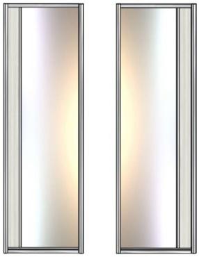 Модель 21-22 полотно Зеркало серебро — вставка 100 мм ЛДСП 645 мм