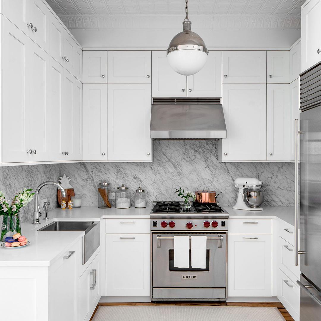 Белая кухня П-образная 2000х2540х1100 мм