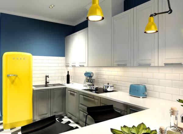 Серо-белая кухня П-образная