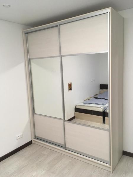 Шкаф-купе 2-х створчатый светлый с зеркалами