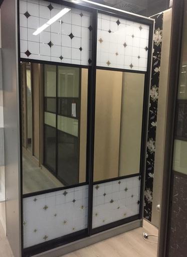 Шкаф-купе 2-х створчатый Клетка Ромбы с зеркалами
