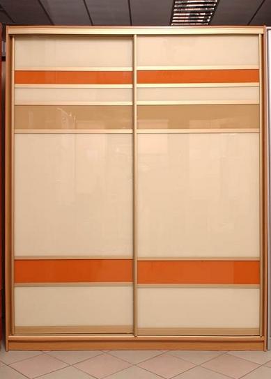 Шкаф-купе 2-х створчатый Бежевый с оранжевыми вставками