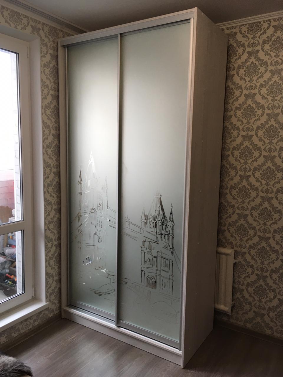Шкаф-купе 2-х створчатый матовые зеркала Лондон