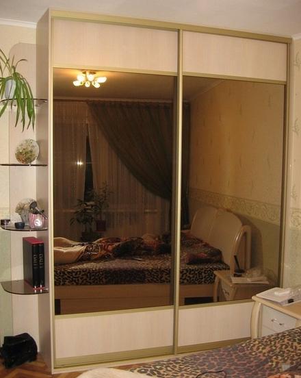 Шкаф-купе 2-х створчатый Млечный Дуб с зеркалами