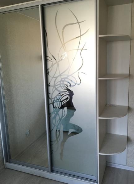 Шкаф-купе 2-х створчатый Дуб Шамани светлый пескоструй Порыв