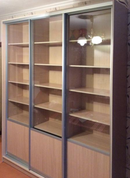 Шкаф-купе 3-х створчатый Бук Бавари со стеклянными дверьми
