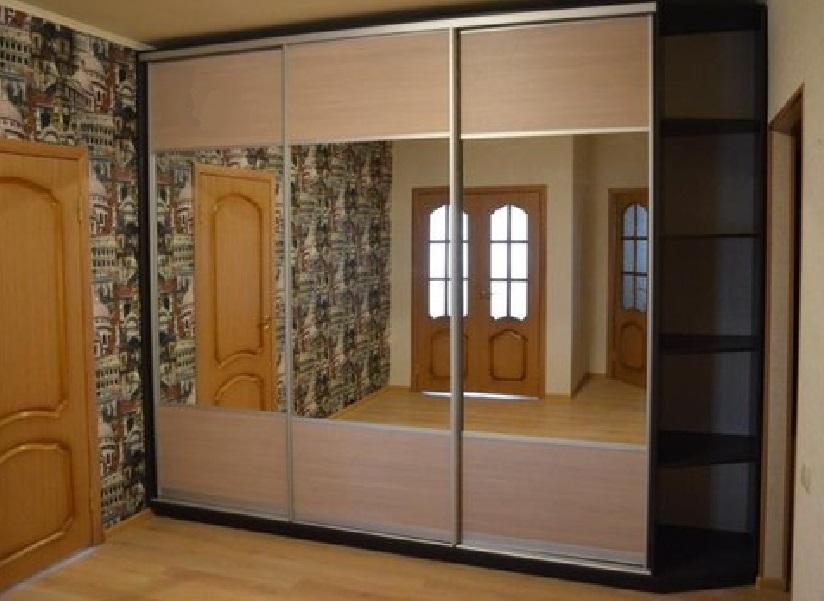 Шкаф-купе 3-х створчатый Дуб Сорано натуральный светлый с зеркалами