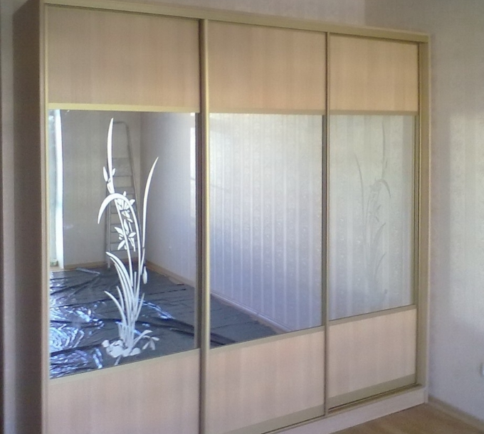 Шкаф-купе 3-х створчатый Клён Танзау зеркало с цветами