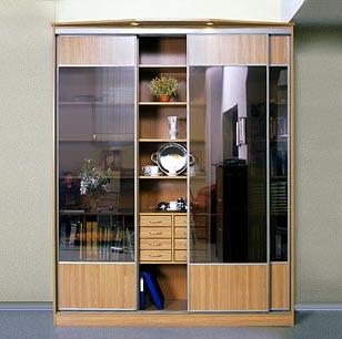 Шкаф-купе 3-х створчатый Ольха натуральная тонированные стекла