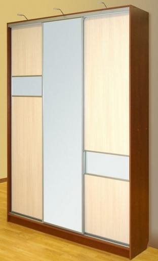 Шкаф-купе 3-х створчатый Орех Ноче экко Млечный Дуб с зеркалом