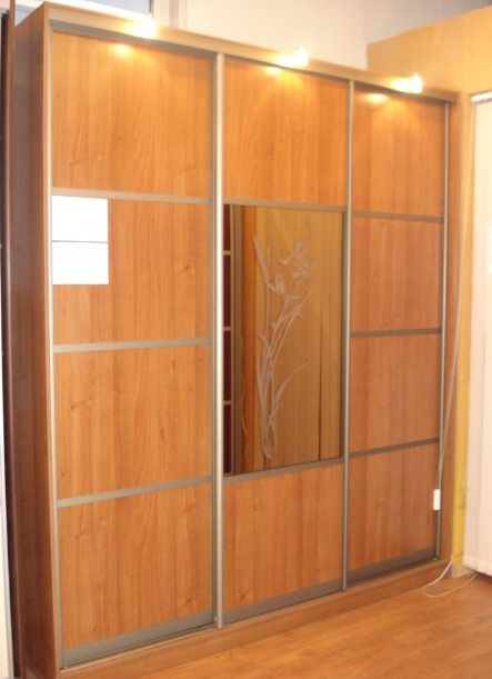 Шкаф-купе 3-х створчатый Вишня Оксфорд и зеркало с рисунком Цветок