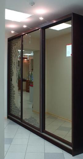 Шкаф-купе 3-х створчатый Яблоня Локарно зеркальный пескоструй камни