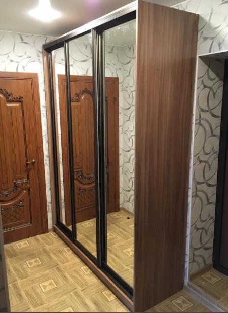 Шкаф-купе 3-х створчатый Ясень Шимо темный зеркальный