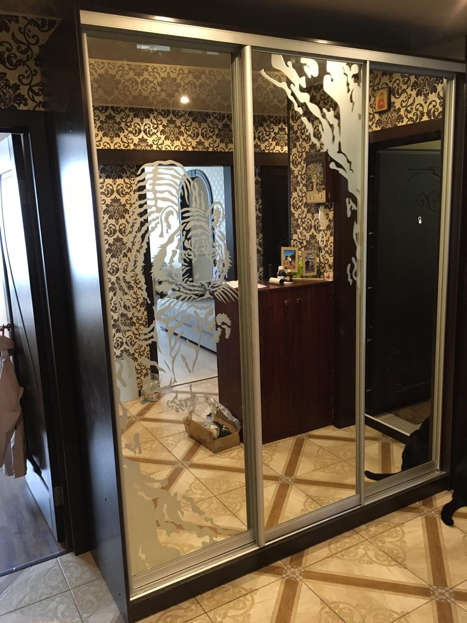 Шкаф-купе 3-х створчатый с пескоструйным рисунком Тигр