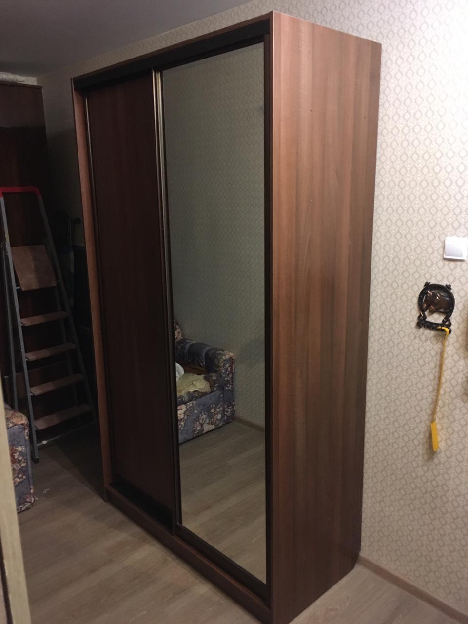 Шкаф-купе 2-х створчатый Ясень Шимо Шоколадный с зеркалом