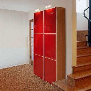 Узкий 2х-дверный шкаф-купе Красный глянец