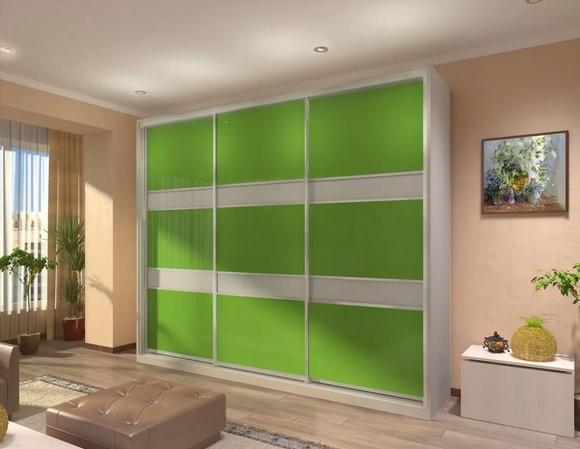 Шкаф-купе 3-х створчатый Лилово Зелёный