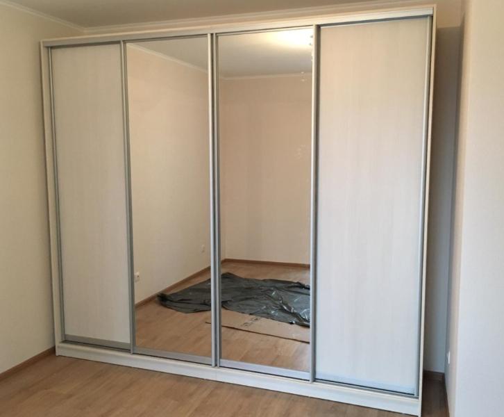 Шкаф-купе 4-х створчатый Бодега белый с зеркалами