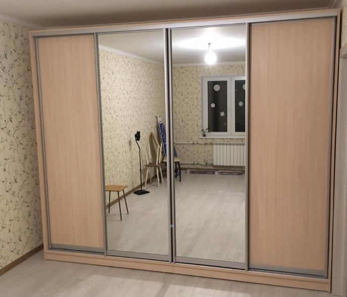 Шкаф-купе 4-х створчатый Бук Бавари светлый с зеркалами
