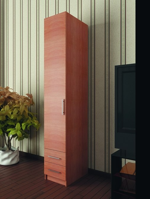 Пенал с распашной дверью Ольха натуральная 2 ящика