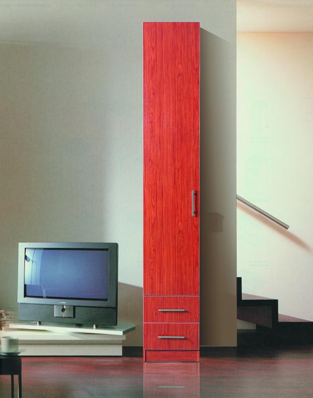 Пенал с распашной дверью Красный 2 ящика