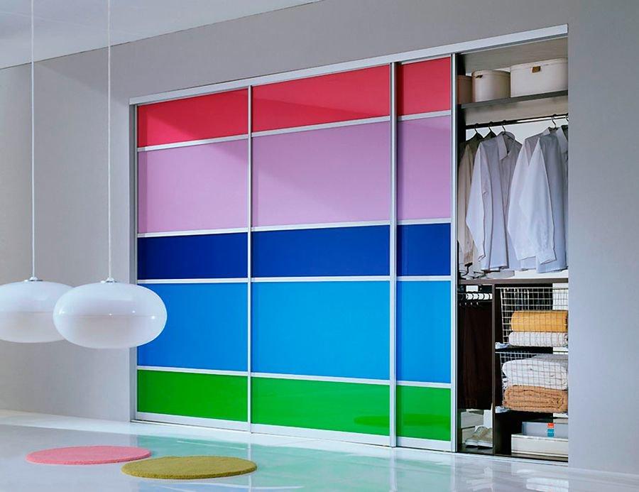 Двери-купе 3 створки разноцветный дизайн