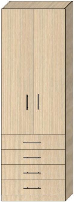 Пенал с распашными дверьми Модель 4 2412х800х405 мм