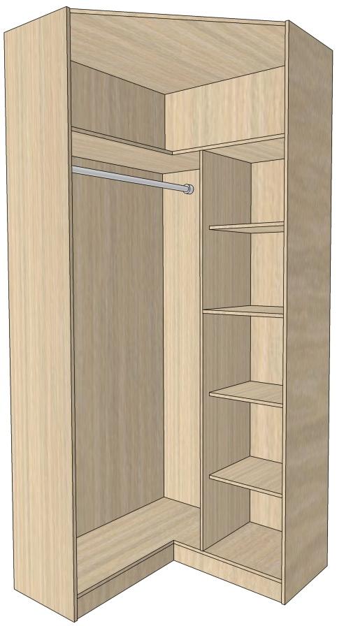 Угловой шкаф с распашными дверьми 2412х1019х819х405х605 мм