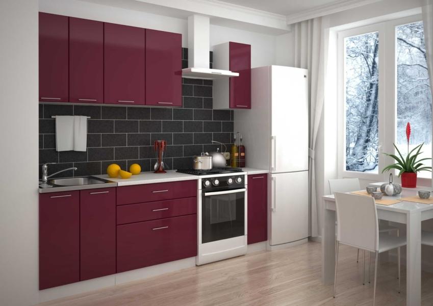 Кухня 2000 мм рубиновая