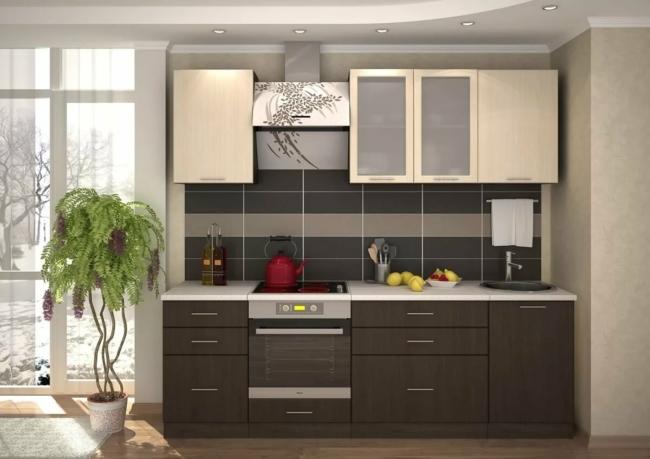 Кухня 2400 мм Бодега белая и темная