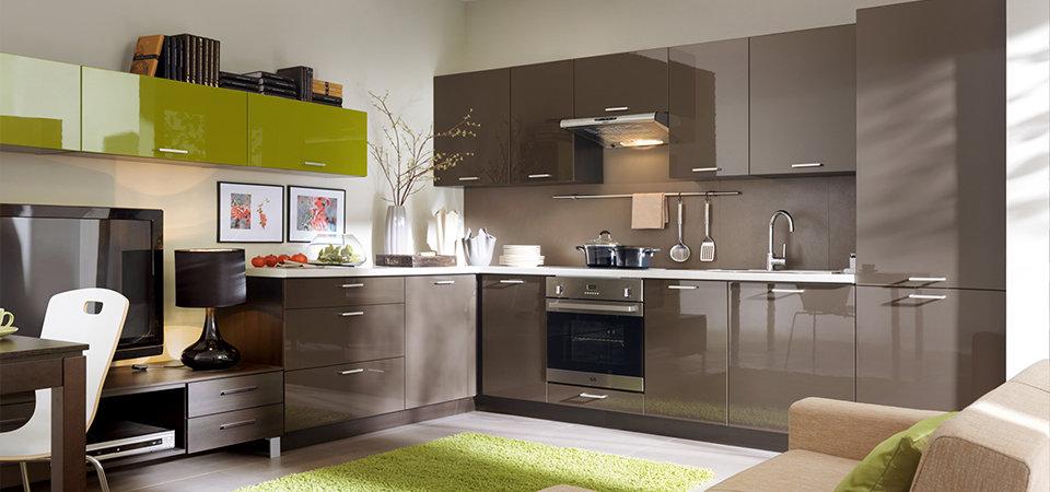 Кухня 3300 мм Серый пыльный глянец
