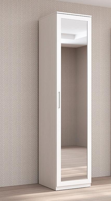 Пенал с распашной зеркальной дверью Бодега белый