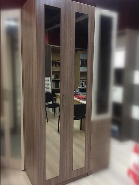 Шкаф-пенал со складной дверью Ясень Шимо темный