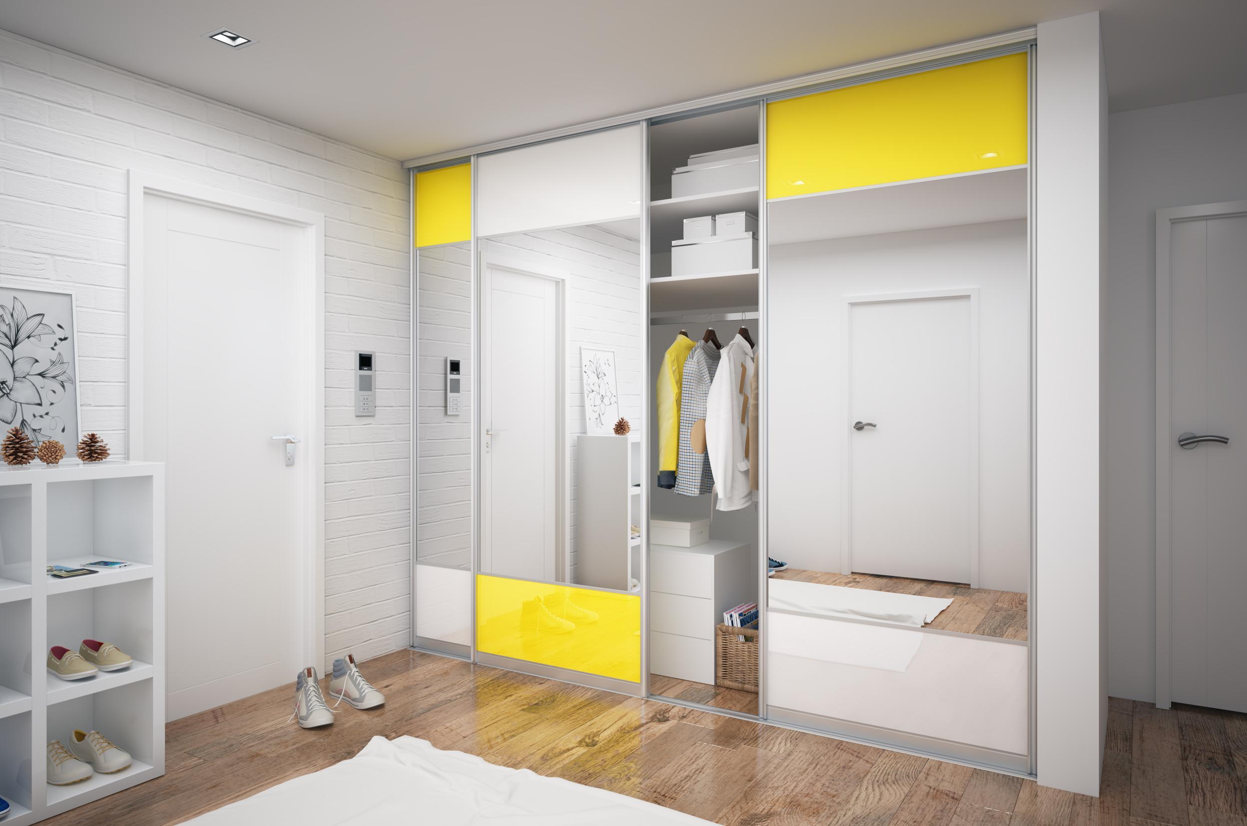 Шкаф-купе белый желтый