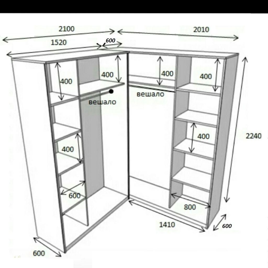 размеры шкафа-купе