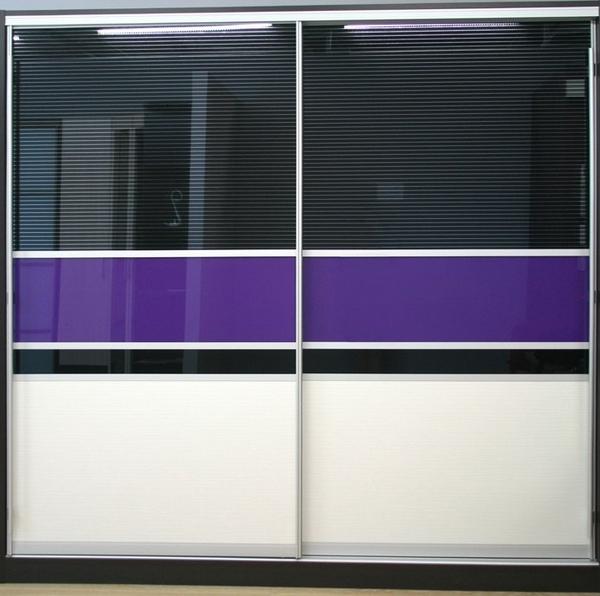 Шкаф-купе 2-х створчатый Черный Фиолетовый Бежевый