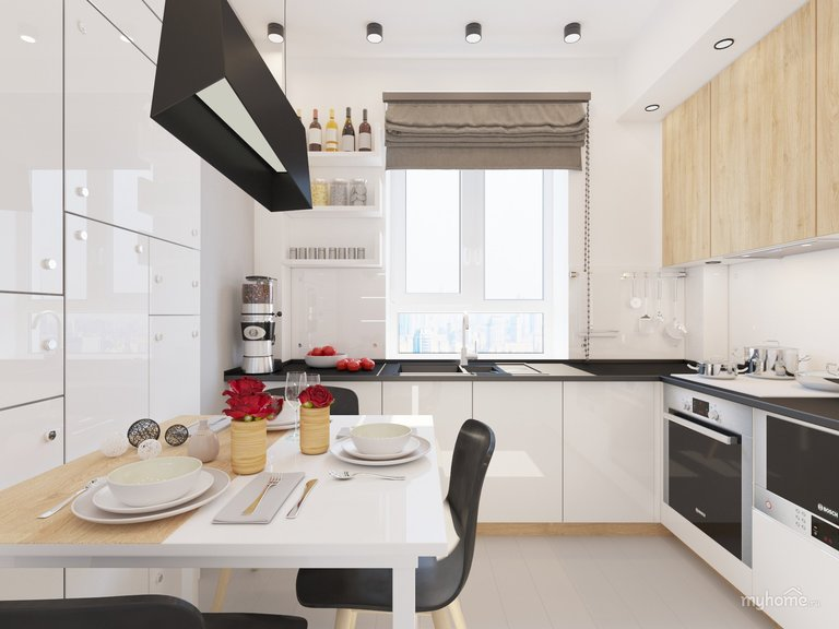 Интерьер кухни без ручек