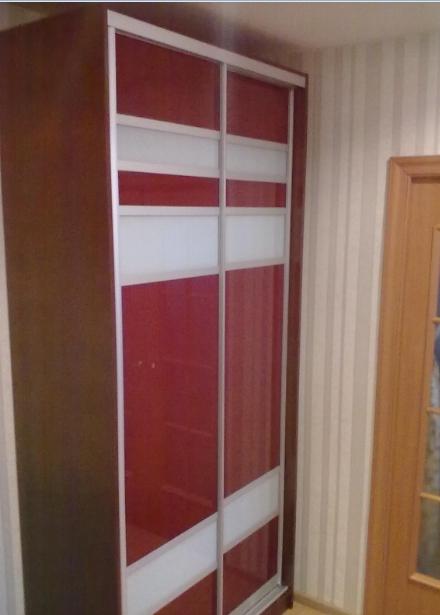 Шкаф-купе 2-х створчатый Красный с белыми вставками