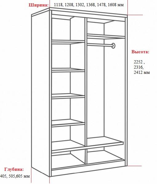 размер двухстворчатого шкафа
