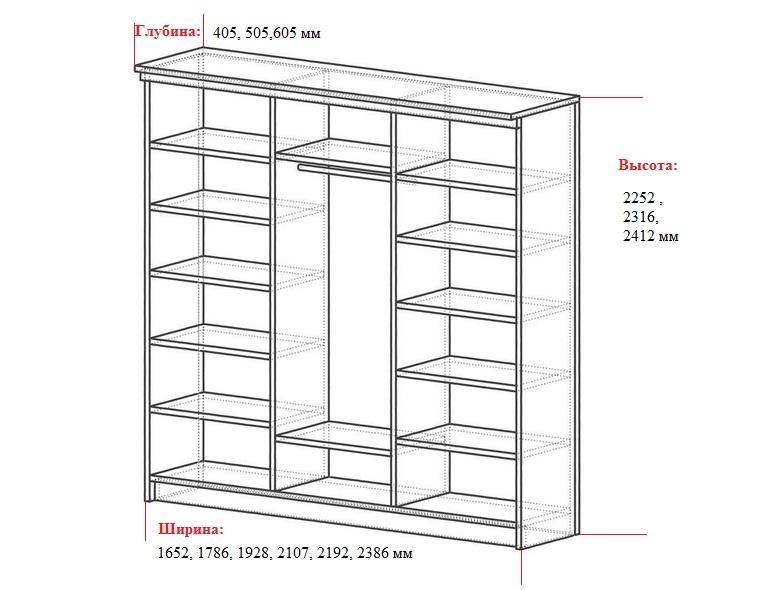 размер трехстворчатого шкафа