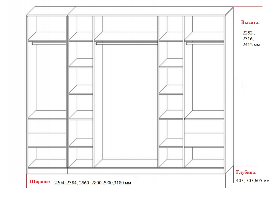размер четырехстворчатого шкафа